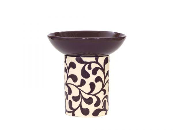 Duftlampe Liane, Keramik, aubergine, creme