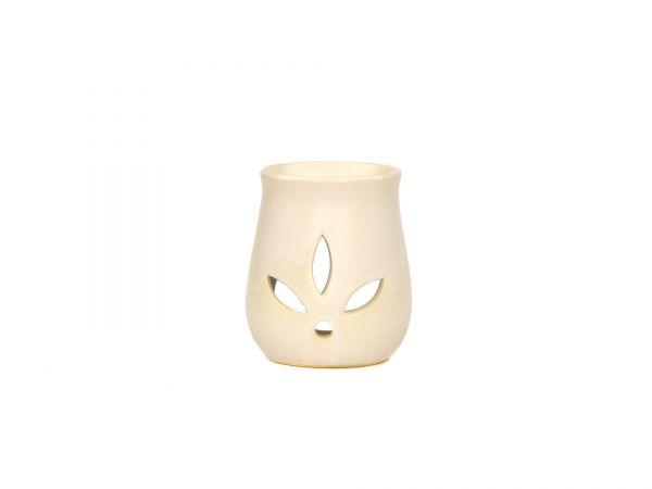 Duftlampe Blätter, Keramik, weiß