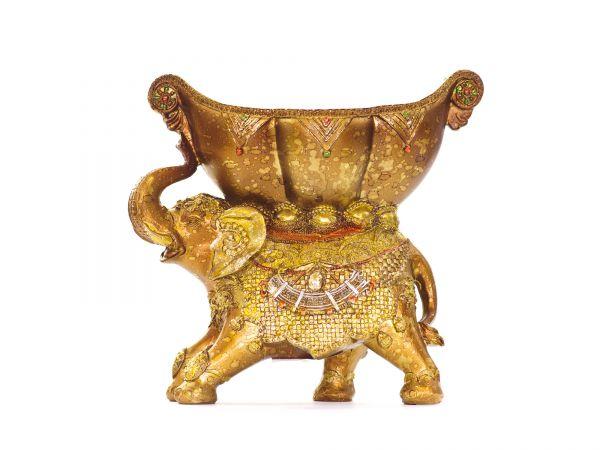 großer Elefant mit Schale, Kunstharz