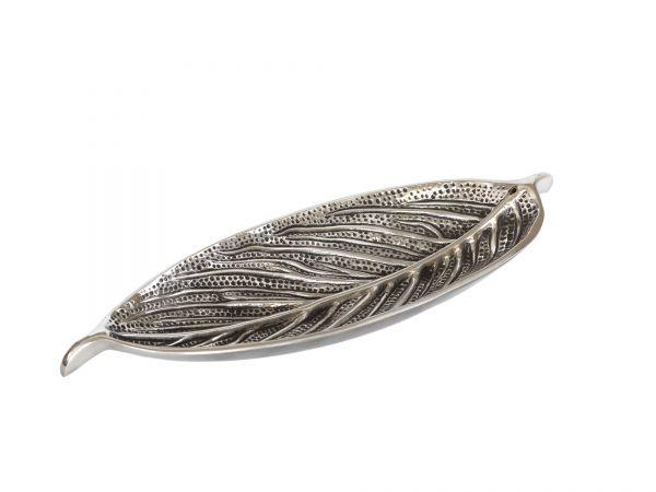 Stäbchenhalter Blatt, superbreit, Weißmetall