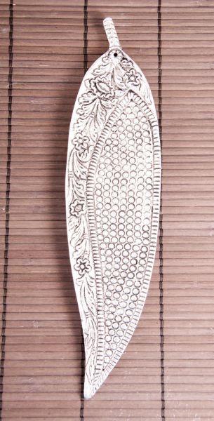 """Stäbchenhalter Blatt """"Design"""", Weißmetall"""