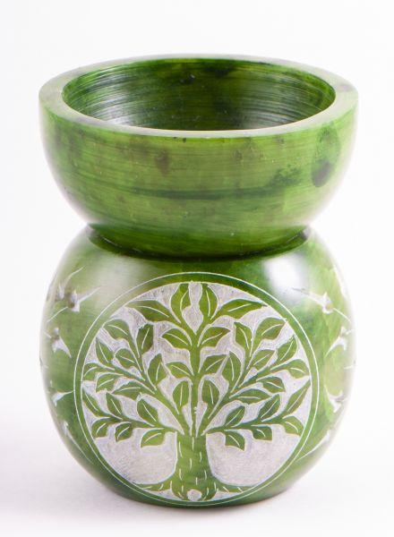 Duftlampe Yggdrasil, Speckstein, grün