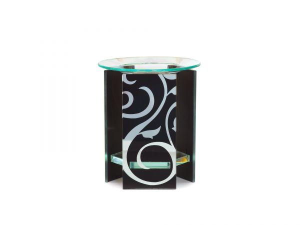 Duftlampe Trible, Glas, schwarz/silber