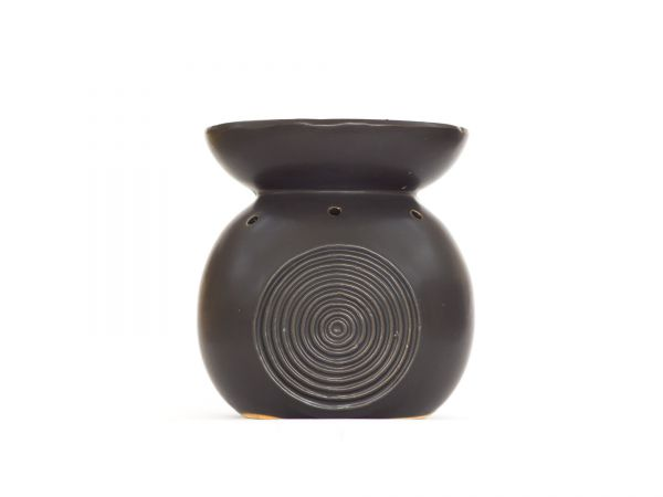 Duftlampe Relief, Keramik, groß, schwarz