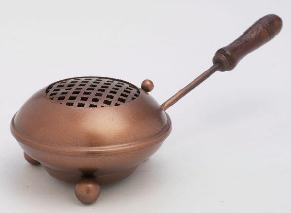 Räucherpfanne - Eisen in Kupferdesign mit Holzgriff