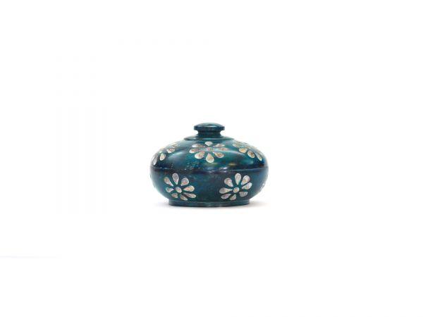 Blumendöschen blau, Speckstein