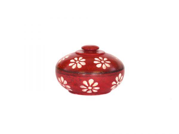 Blumendöschen rot, Speckstein